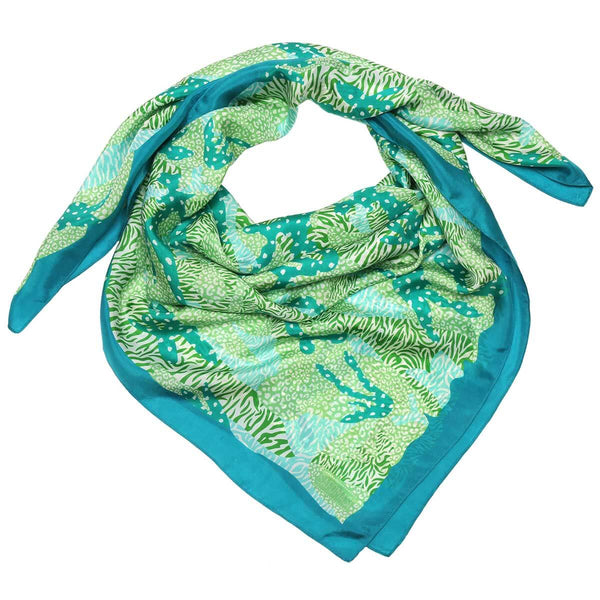 Green Big Cat Camo Silk Scarf
