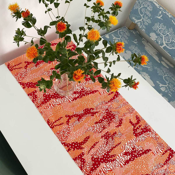 Orange Big Cat Camo Table Runner