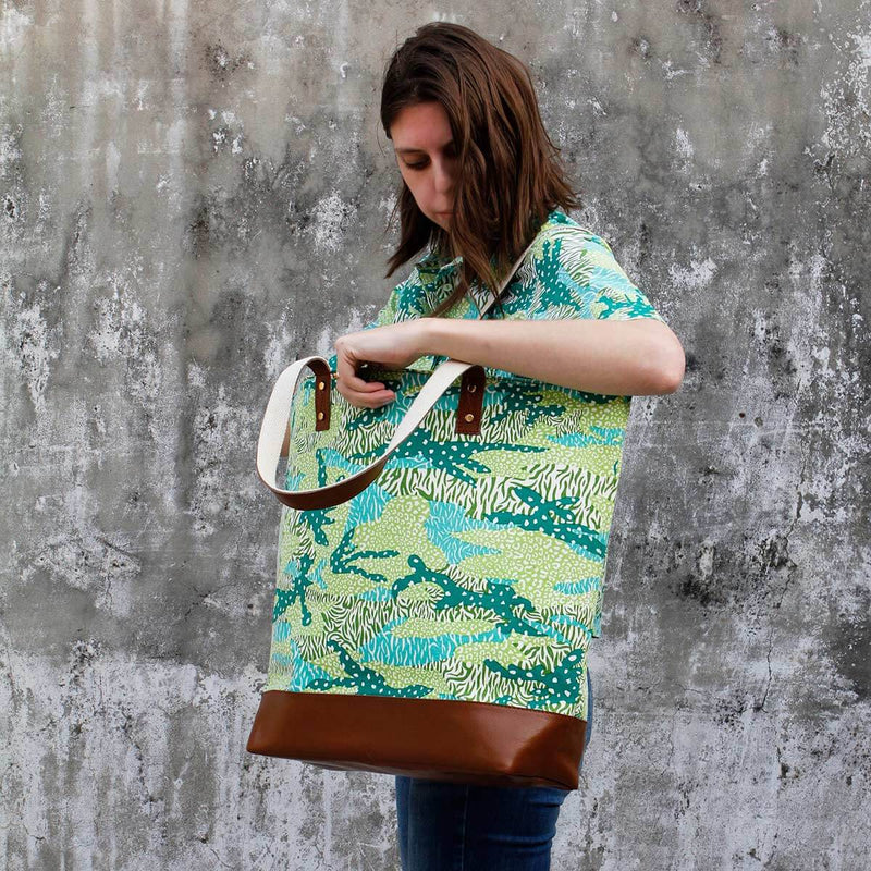 Green Big Cat Camo Canvas & Leather Tote Bag