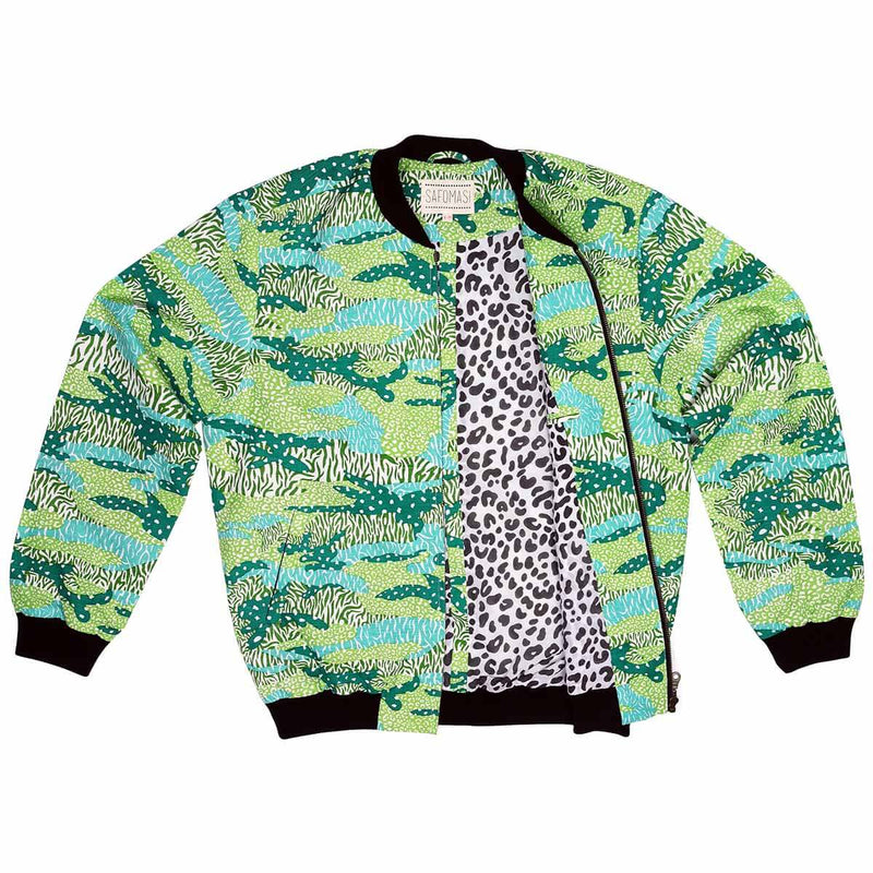 Green Big Cat Camo Unisex Bomber Jacket