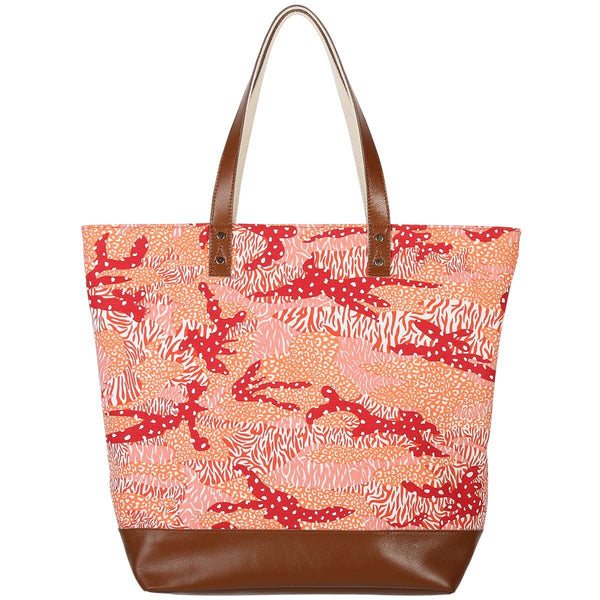 Orange Big Cat Camo Canvas & Leather Tote Bag