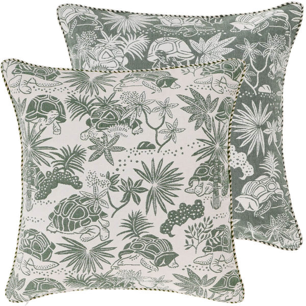Green Tortoise Woven Cushion Cover