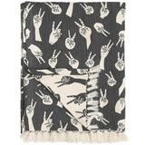 Grey Peace Hands Woven Throw