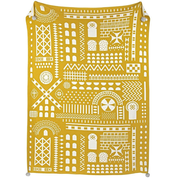 Mustard Stone Symbol Knitted Throw