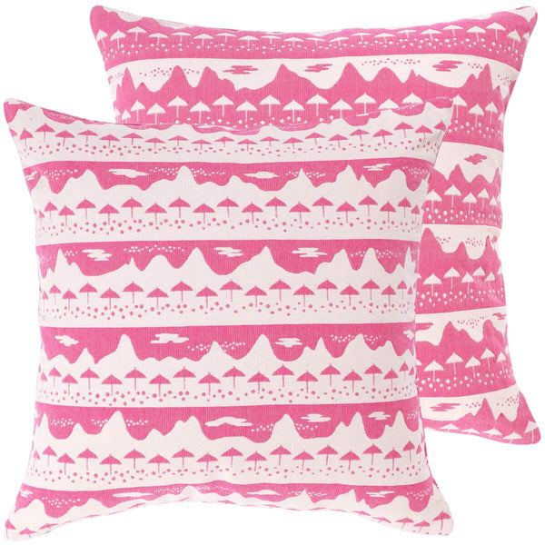 Pink Belle Mare Woven Cushion Cover