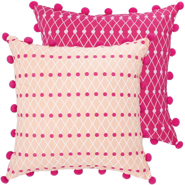 Pink Pom Pom Net Block Cushion Cover