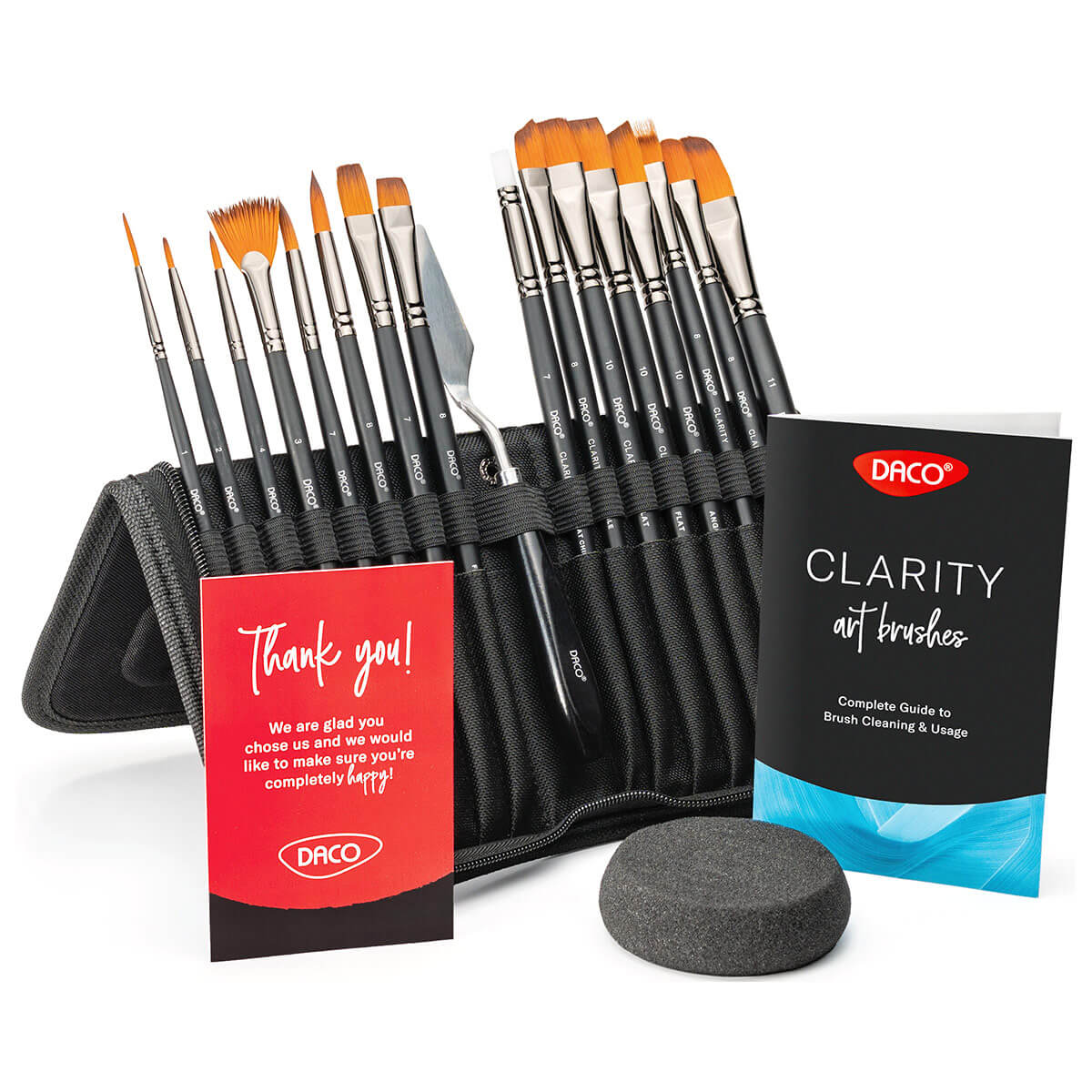 Artist Paint Brushes Clarity, 15pcs+1 with Palette Knife