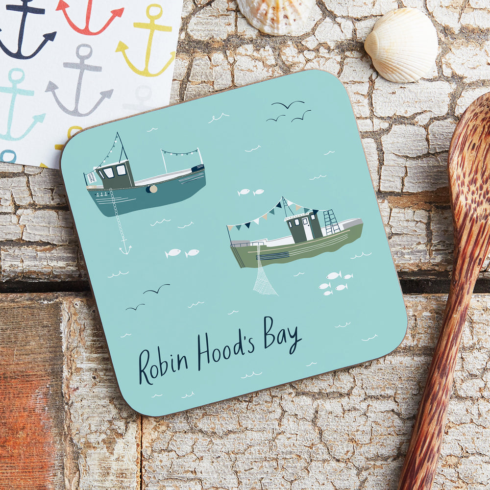 Robin Hood's Bay Fishing Boats Coaster