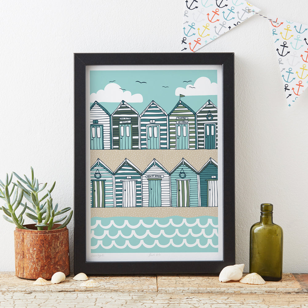 Beach Huts Art Print - Sand