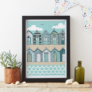 Load image into Gallery viewer, Beach Huts Art Print - Sand