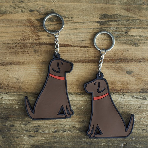Chocolate Labrador Dog Keyring
