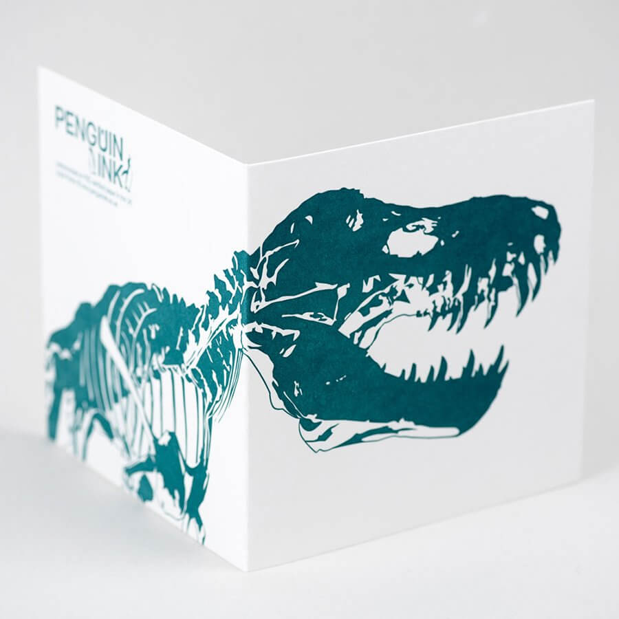 Load image into Gallery viewer, T-Rex 'Stan' Dinosaur Letterpress Card - Green