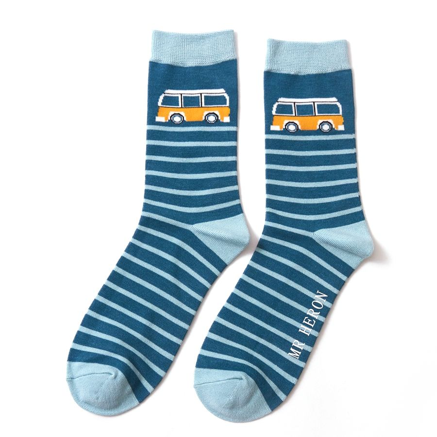 Campervan Stripe Bamboo Socks - Teal
