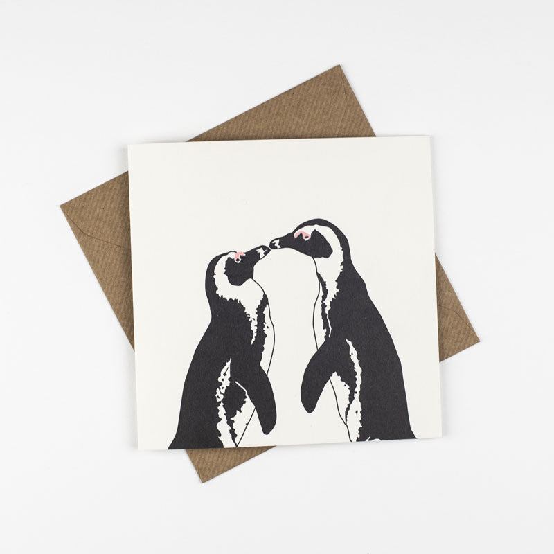 Load image into Gallery viewer, Kissing Penguins Letterpress Card