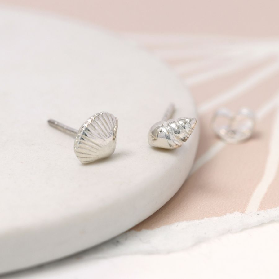 Sterling Silver Mismatched Shell Stud Earrings