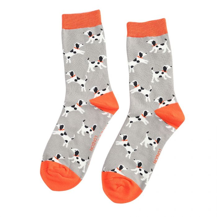 Little Dalmatian Bamboo Socks - Light Grey