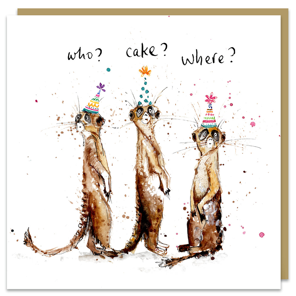 Who? Cake? Where? Birthday Card
