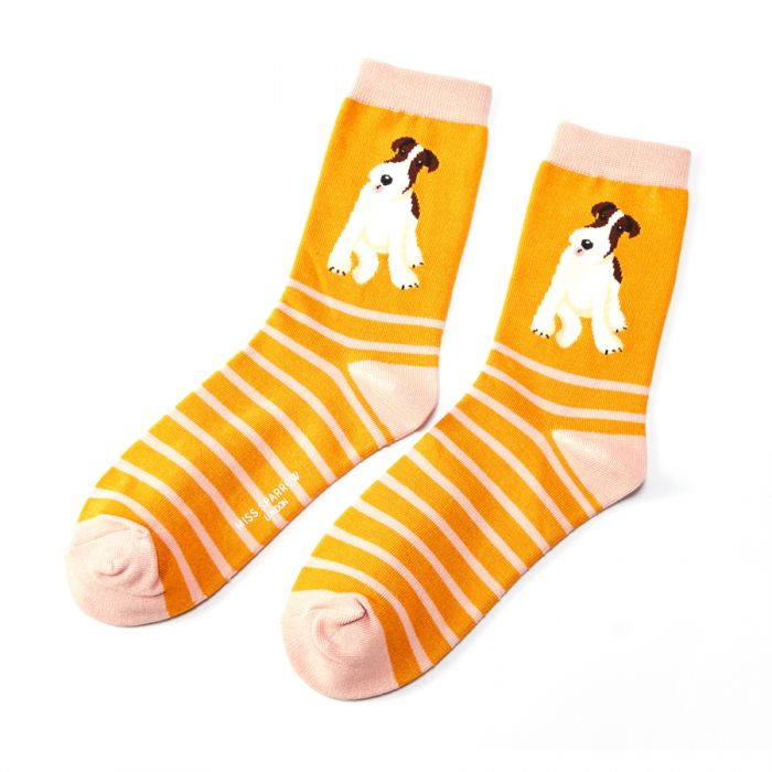 Fox Terrier Bamboo Socks - Mustard