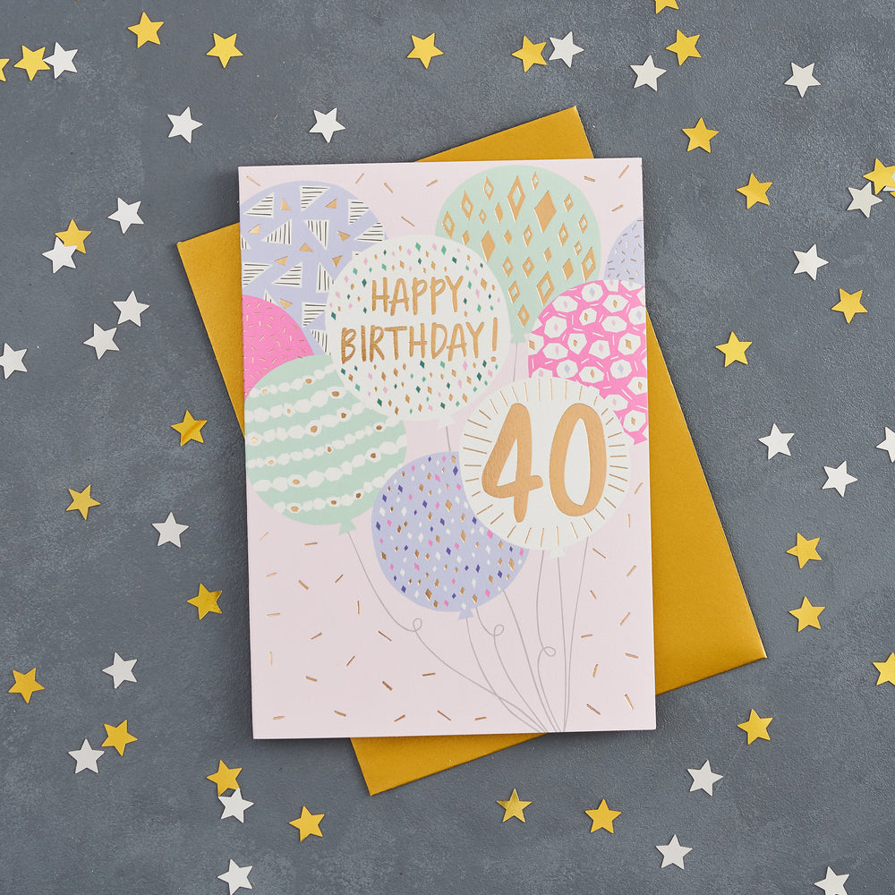 40th Birthday Balloon Card
