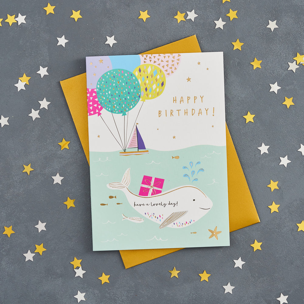 Whale and Boat Birthday Card
