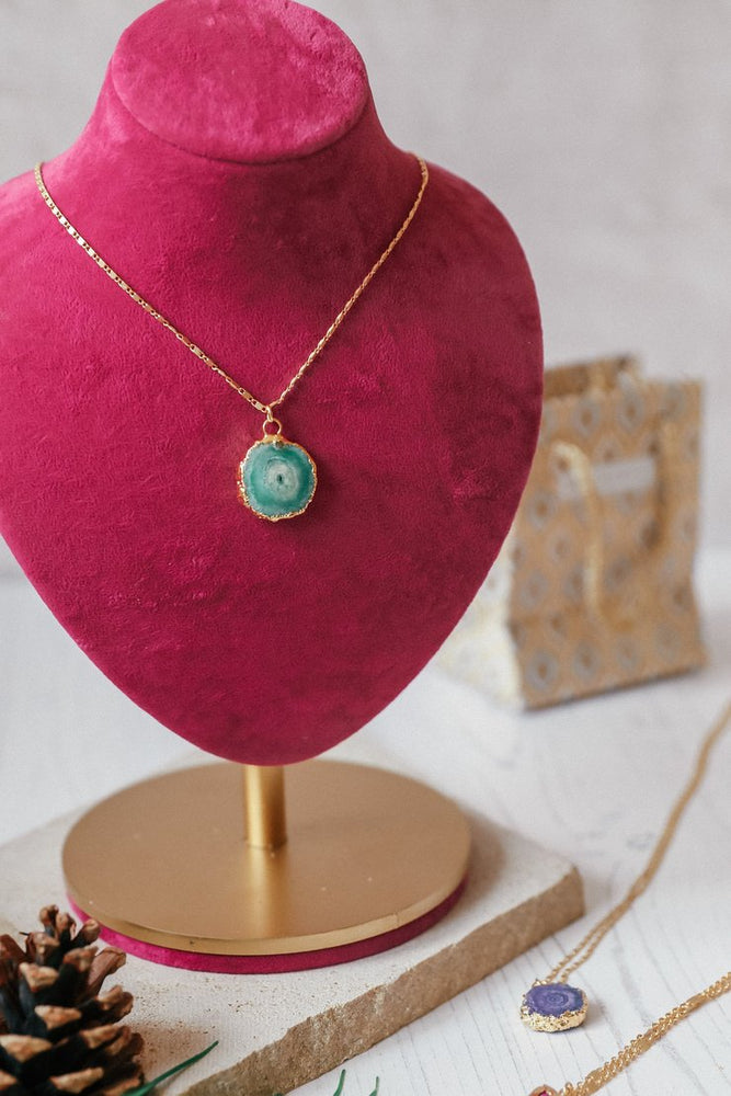 Green Round Agate Necklace
