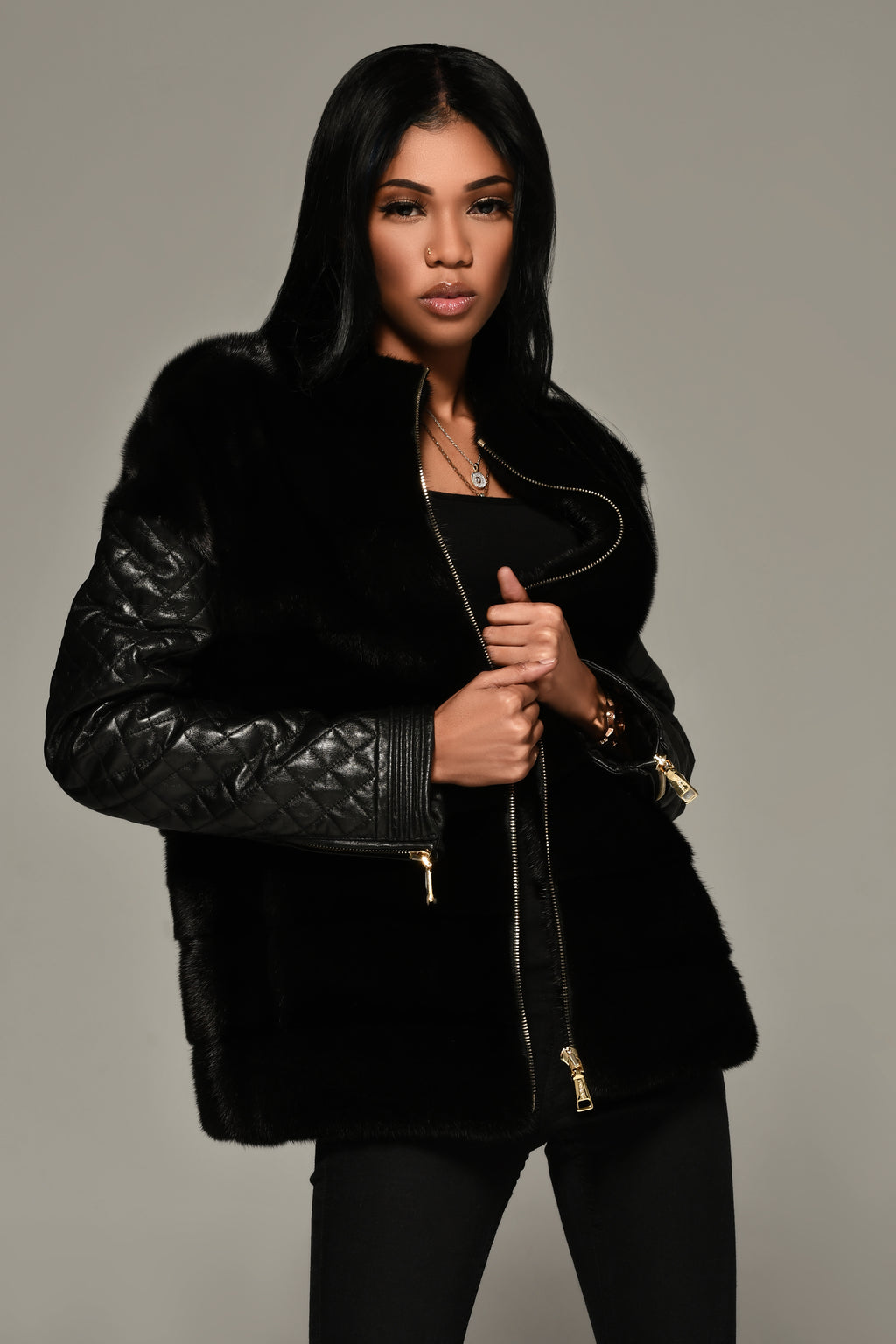 Mink and Leather Motorcycle Jacket