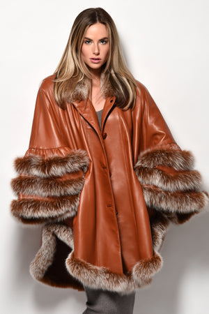 Leather cape with crystal Fox trim style 10033
