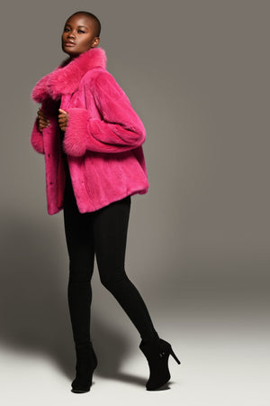 Hot pink Mink and Fox Jacket