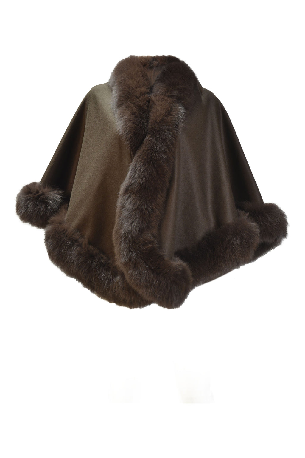 Cashmere Blend Cape with Fox Border in Brown