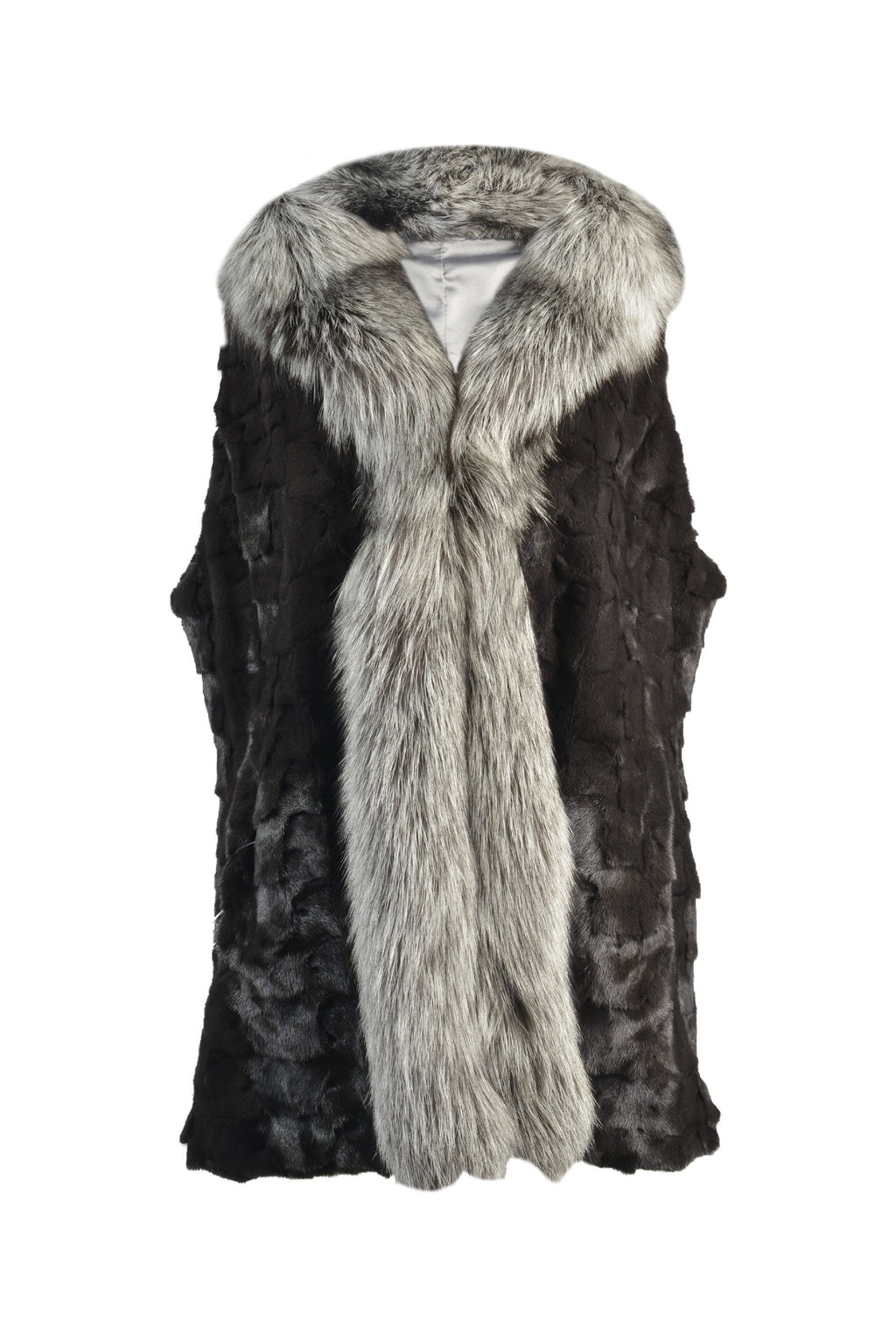 Mink Sections Vest with Silver a Fox Tuxedo