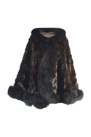 Mink Sections Cape with Fox Trim