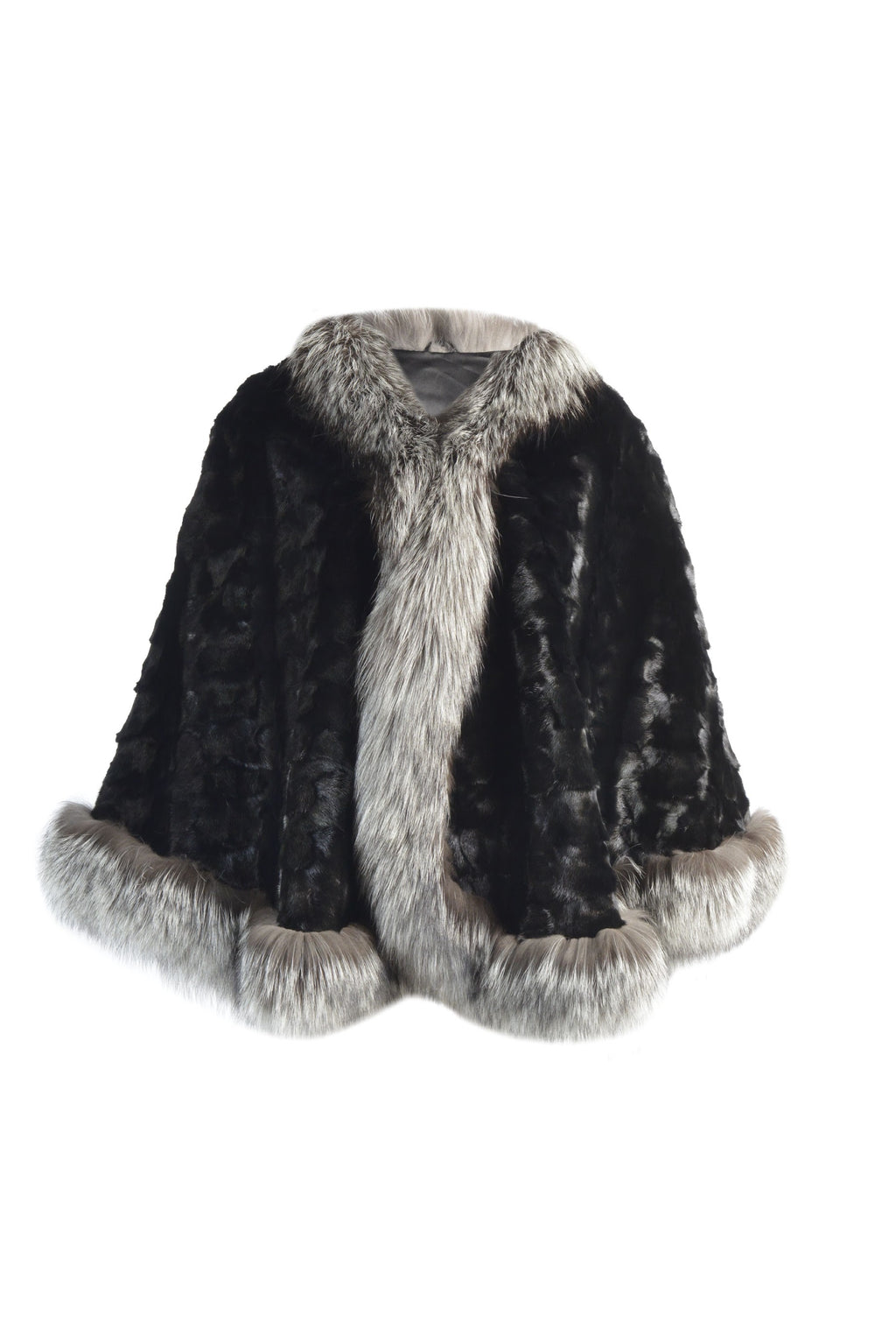 Mink Sections Cape with Silver Fox Trim
