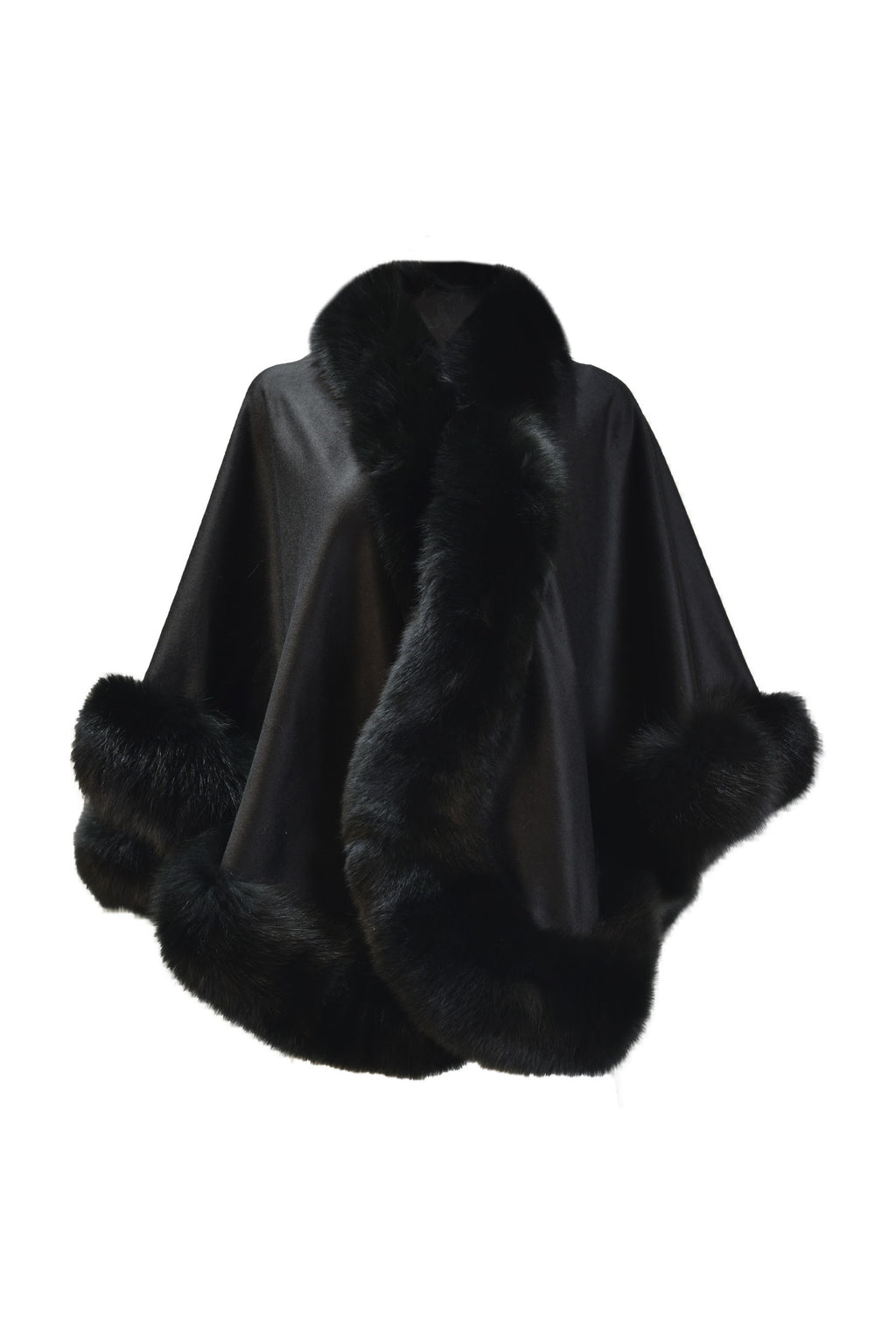 Cashmere cape with Fox Border in Black