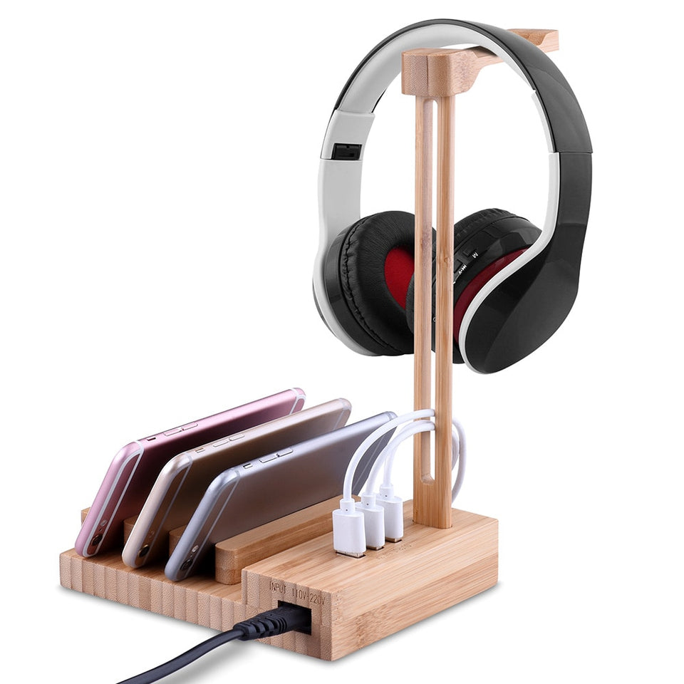 Wooden Headphone Stand With 3 USB Ports