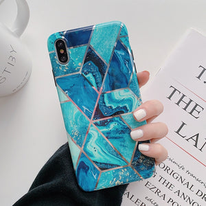 Geometric Marbled Phone Case For iPhones