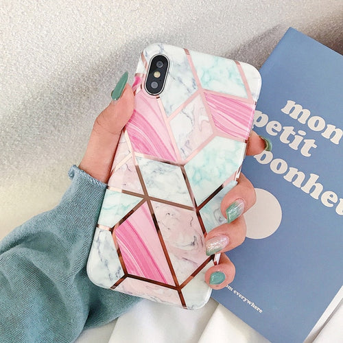 Geometric Marbled Phone Case For iPhones 2.0