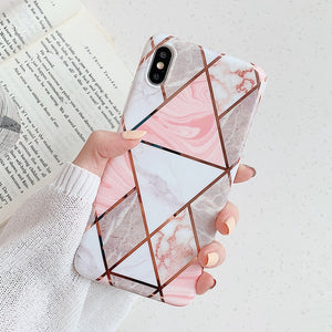 Geometric Marbled Phone Case For iPhone 12 & 12 Pro