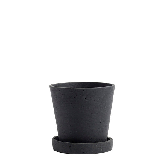 HAY Flowerpot With Saucer, S - Black