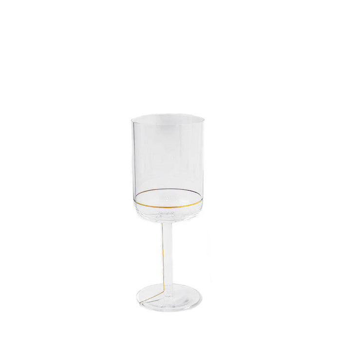 HAY Colour Red Wine Glass with Gold Lines