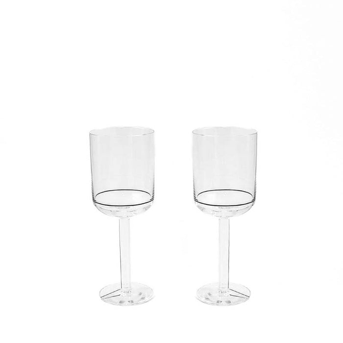 HAY Colour White Wine Glass with Black Lines - set of two