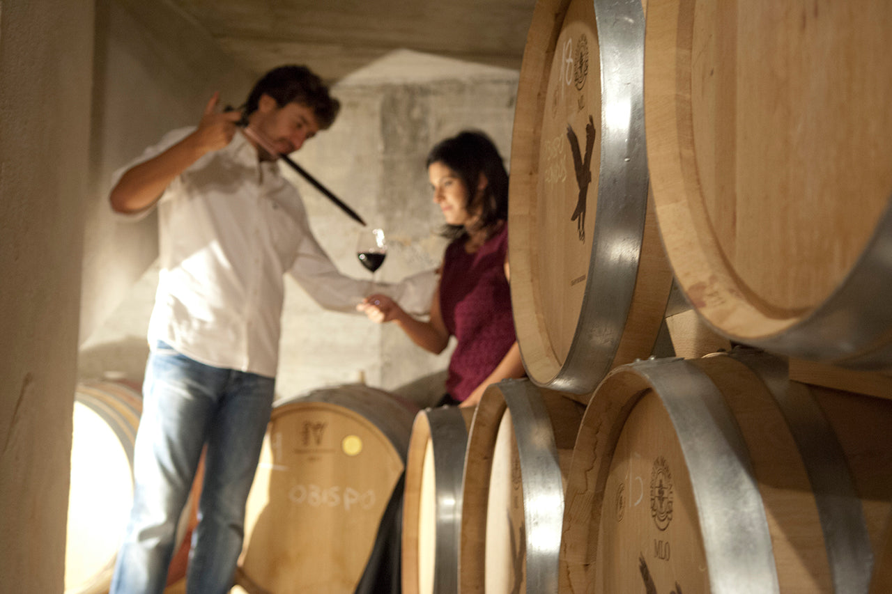 Tasting from barrel: Jorge and Isabel have bought and converted a series of underground caves in La Aguilera, which have the perfect cool conditions for slow ageing of their wines.