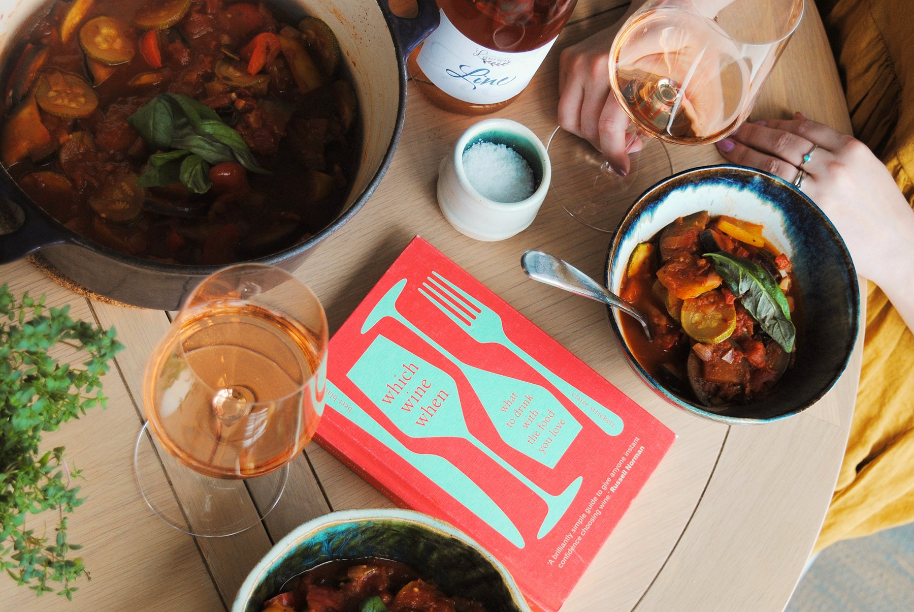 Try our favourite rosé, from Domaine des Lauriers, with vibrant Ratatouille