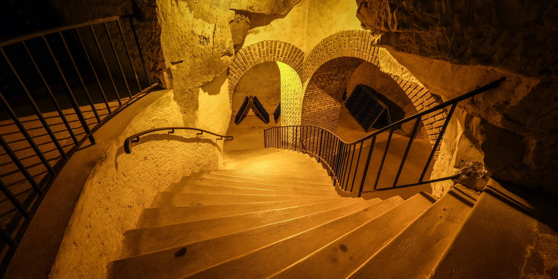 The extensive Gallo-Roman cellars (crayères) at Taittinger go down to a depth of 18 metres