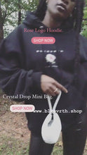 Load and play video in Gallery viewer, Rose logo hoodie and crystal drop mini bag boomerang media
