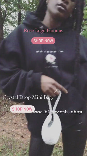 Rose logo hoodie and crystal drop mini bag boomerang media