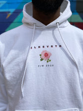 Load image into Gallery viewer, Ultra cotton medium weight white  rose logo BLKEVRTH pullover hoodie