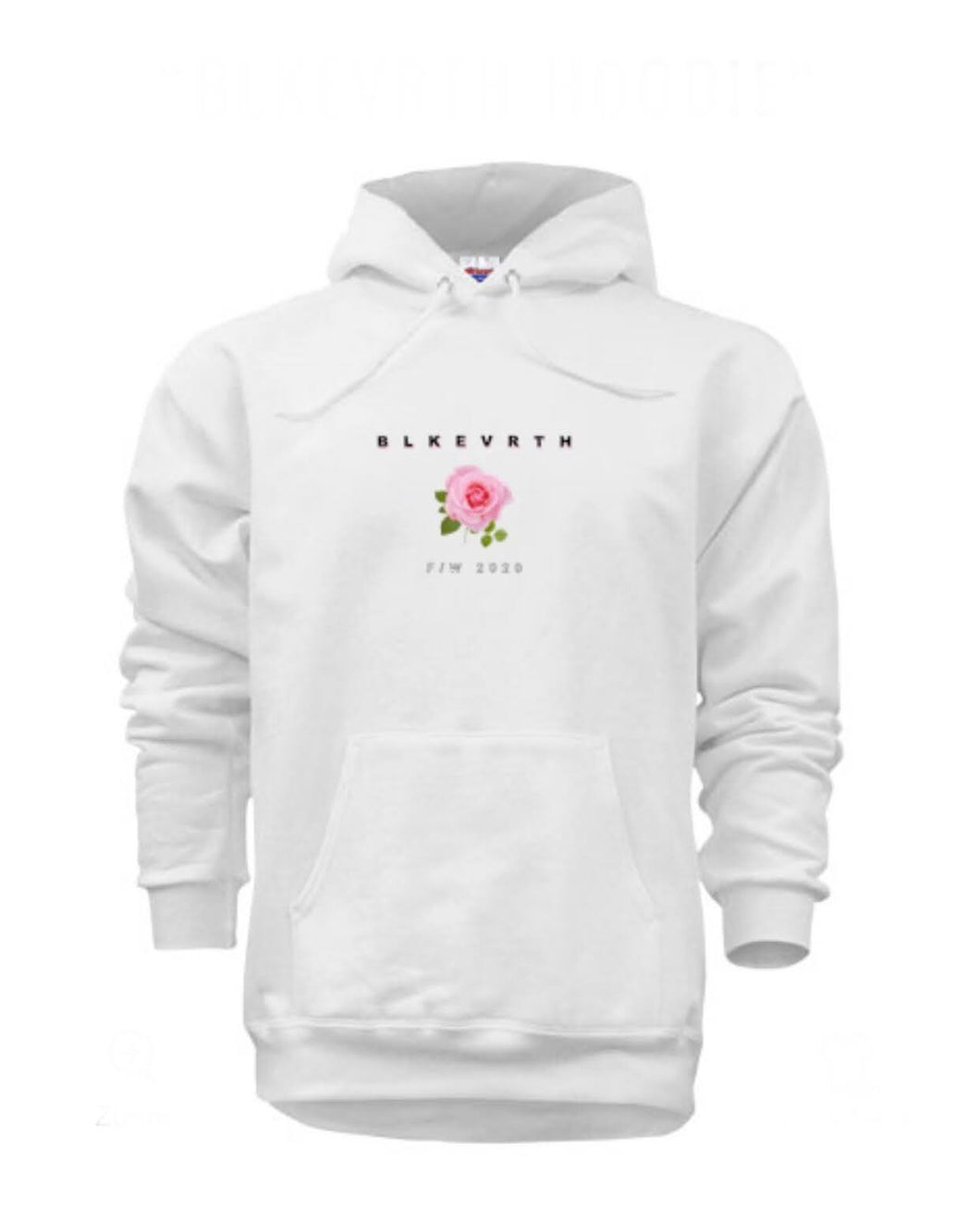 Ultra cotton medium weight white  rose logo BLKEVRTH pullover hoodie
