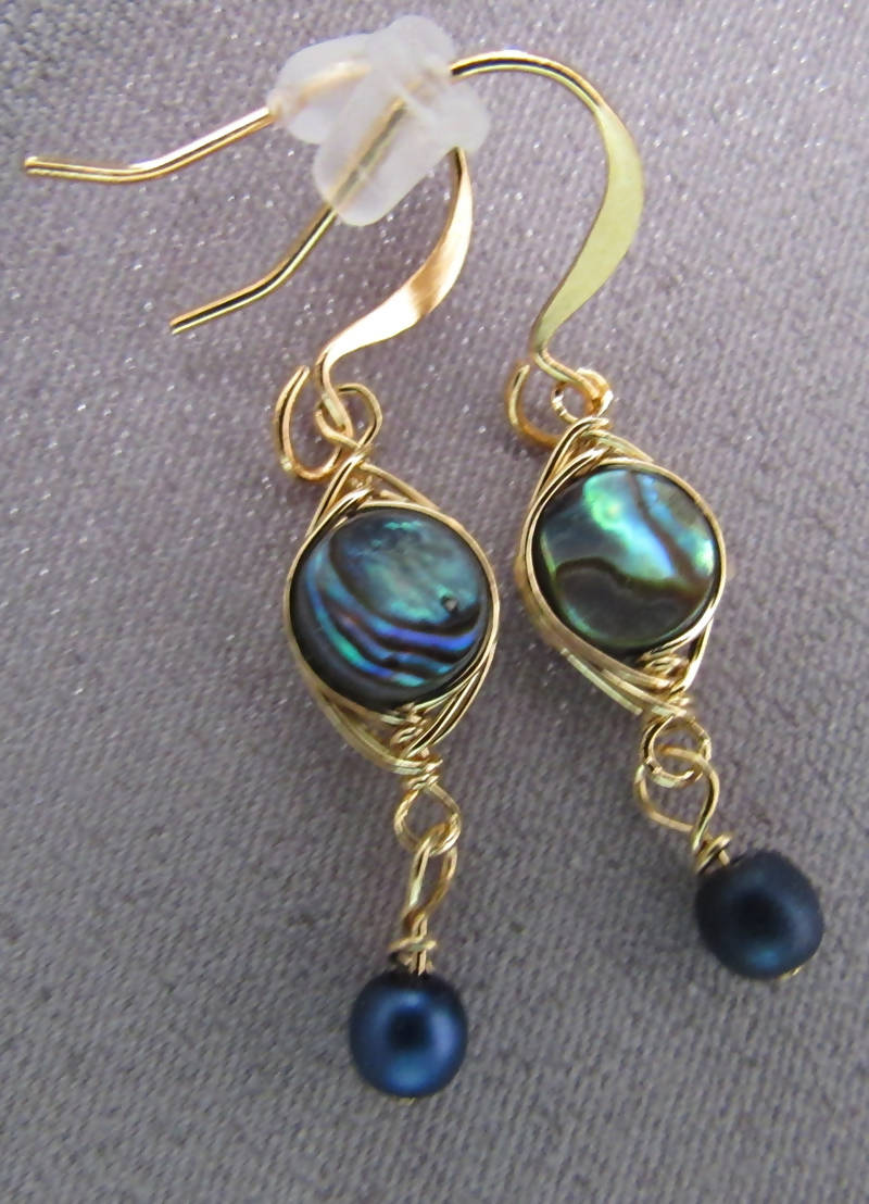 Delicate Gold and Abalone and Pearl Earrings