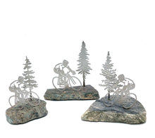 "Load image into Gallery viewer, Valentine Special! Cyclist on polished stone with a tree. Each one comes with gift bag and ""You Rock"" card."