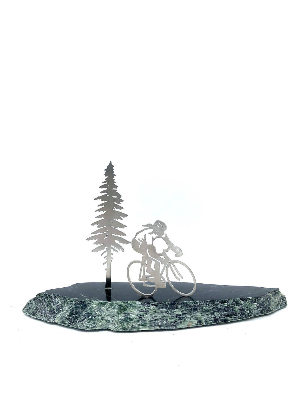 Valentine Special! Cyclist on polished stone with a tree. Each one comes with gift bag and